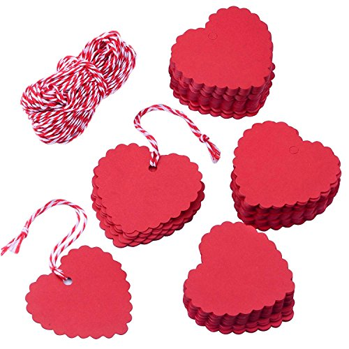 MINGZE 100 pezzi rosso a forma di cuore Kraft Tag regalo di carta con 20 m di spago, etichette prezzo carta regalo, Hang Tags per San Valentino Natale matrimonio Ringraziamento Festa di compleanno Bomboniere