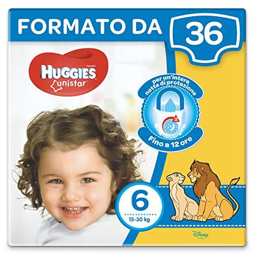 Huggies Unistar Pannolini, Taglia 6 (15-30 kg), Confezione da 36 Pannolini