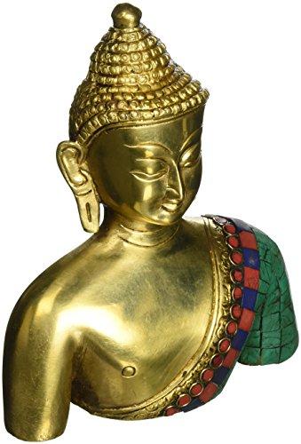 ShalinIndia Busto de Buda Estatua Latón Metal Budista de colores decoración 7,5pulgadas 3