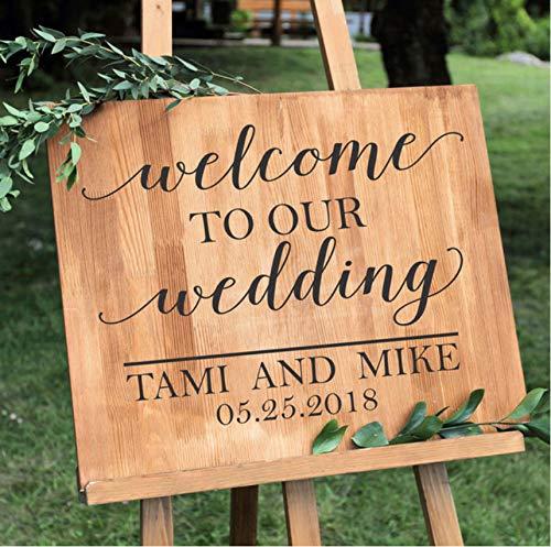 Pbbzl Simple Wedding Vinyl Sticker Citazioni Personalizzate Welcome Sign Nomi E Data Segnali...