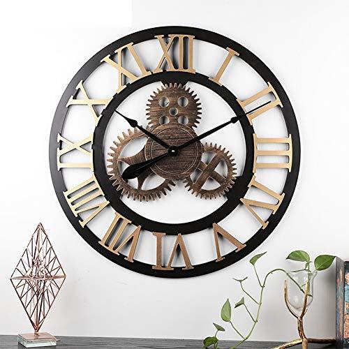 ZYQDRZ Orologio da Parete Vintage in Stile Industriale 3D in Stile Europeo, Orologio da Parete Antico Fatto A Mano, Design Ultra-Silenzioso, Orologio per La Decorazione Domestica,B,70CM