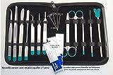 Sciences-cool.com Astuccio per dissezione, Kit di 12 Strumenti Professionali in Acciaio Inox per Studente, Spessore: 2 cm, Colore: Marrone Scuro