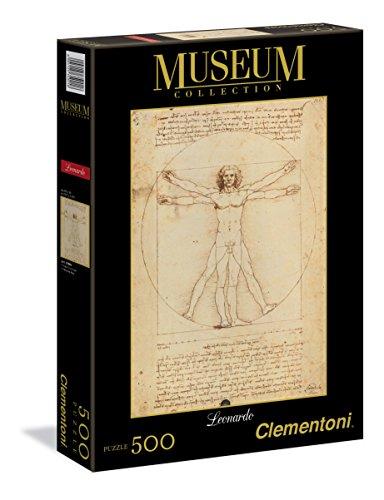 Clementoni- Leonardo da Vinci-Uomo Vitruviano Museum Collection Puzzle, Multicolore, 500 pezzi,...