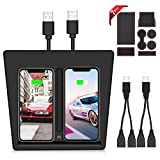 VXDAS Model 3 Wireless Charger, QI Wireless Phone Charger Dual Phones Charging Pad with USB Splitter for Tesla Model 3 Accessories (7pcs Storage Mat Set)