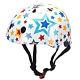 Kiddimoto Kids Kinder Stars Helmet, White/Multi-Colour, Small