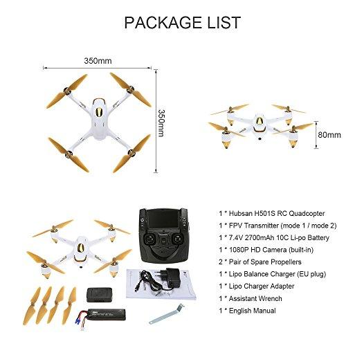 Hubsan H501S X4 Brushless FPV Quadricoptère Drone GPS avec Caméra 1080P HD 5.8Ghz(H501S Blanc) 12