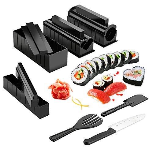 """Sushi Maker Kit, AGPTEK 10 tlg Komplett Sushi Making Kit, 5 Formen DIY Selber Sushi Machen Set mit hochwertigem Sushi Messer, Perfekt für Sushi DIY auch als Geschenk -\""""MEHRWEG\"""""""