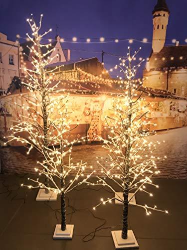 Xone Albero di Natale LED 120 Cm | Albero Luminoso Innevato 114 LED Luce Calda