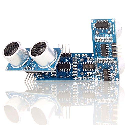 Aukru 3x ultrasuoni HC-SR04 Sensore modulo di prossimità (distanza) per Raspberry Pi Arduino  Sensor angle: Not more than 15 degrees  Detection distance: 2cm-450cm  High precision: Up to 0.3cm  Mode of connection:VCC, trig(T), echo(R), GND  T...