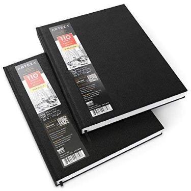 ARTEZA Cuadernos de dibujo de tapa dura | Pack de 2 | 110 hojas por cuaderno | Tamaño 21,6 x 27, 9 cm | Papel grueso de 110 gsm