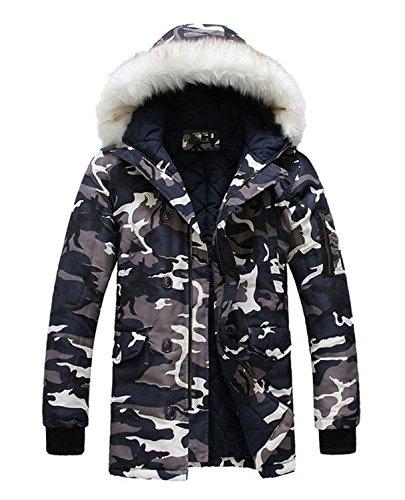 d10c7afab7a LILBETTER Men s Hooded Faux Fur Camouflage Warm Coats Outwear Winter ...