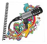 "3dRose db_115370_3 Singer Mondern Colorful Pop Art Vector Mic Microphone-Mini Notepad, 4 by 4"""