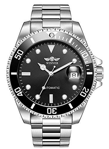 Bossy Mart, orologio da polso da uomo Winner, meccanico, automatico, elegante, interamente in acciaio, impermeabile, con calendario