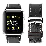 JAMMYLIZARD | Cinturino in pelle resistente loop con fibbia 42 millimetri per Apple Watch, NERO