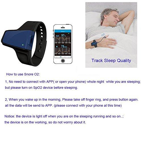 Lunasea sans fil apnée du sommeil Obstructives Aid tracker moniteur de fréquence cardiaque et SPO2Oxymètre de pouls Alarme 6