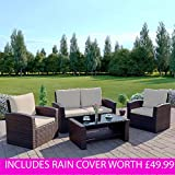 Rattan Garden Furniture Sofa Set Patio WITH RAIN COVER Conservatory New Wicker Weave Furniture Patio Conservatory 2 or 3 Seater Sofa (Brown with Light Cushions, Algarve 2+1+1)