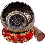 Rovtop Bol Chantant Tibétain - Fabriqué au Népal - Manche en Bois - Petit Coussin - Conception Délicate Pour Méditation Guérison Prière Yaga Peut Produire la Vibration et la Résonance