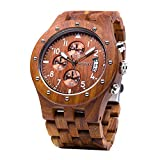 BEWELL Men's Wooden Watches Chronograph Analogue Quartz Watch with Wood Bracelet Date Calendar Stop Watch Round Timepiece (Red)