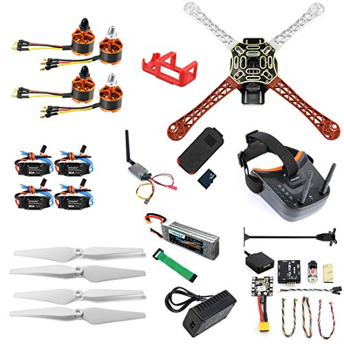 QWinOut DIY RC Drone Kit F450-V2 FPV Quadcopter with MINI PIX MINI GPS Q6 4K Wide Angle Action Camera FPV Watch/FPV Goggles (With Battery&Charger, FPV Goggles Version)