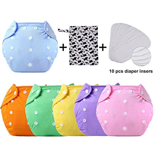 Zoylink 6PCS Baby Pocket Diaper Pannolino di Stoffa Regolabile con 10 Inserti per Pannolini E Borsa Asciutta Bagnata