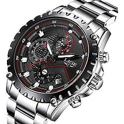 Orologi da uomo sport lusso Business impermeabile in acciaio INOX cronografo quadrante nero