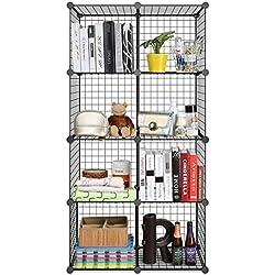 HOMFA DIY Regalsystem Bücherregal Standregal Standschrank Stufenregal Raumteiler Steckregal 8 Würfel aus Drahtgitter Aufbewahrung für Bücher, Kleidung, Spielzeug