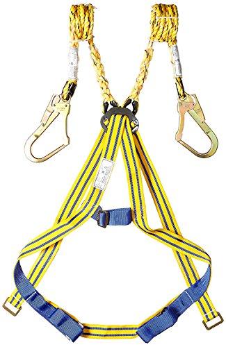 SAFEYURA Double Lanyard Full Body Safety Belt, Harness with Scaffolding Hook