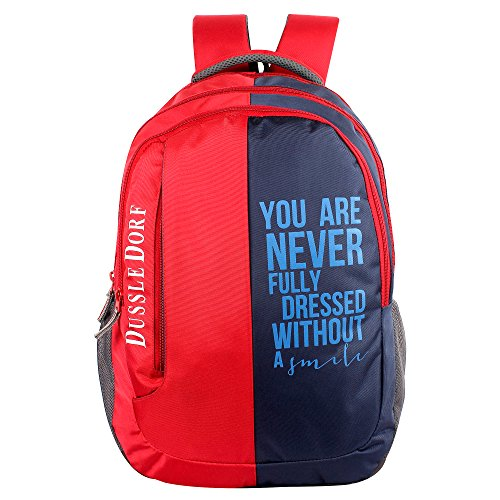 The Blue Pink Polyester 18 Ltr Red-Blue Laptop Backpack