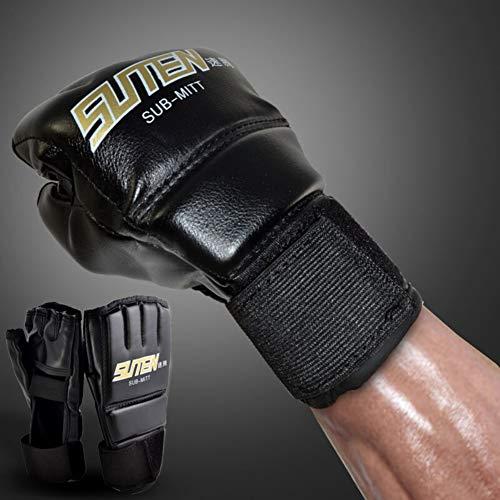 Ebestus 1 Paia Guantoni Boxe, MMA Muay Thai Training Punzonatura Mezze Dita Guanti, Sparring Boxe...