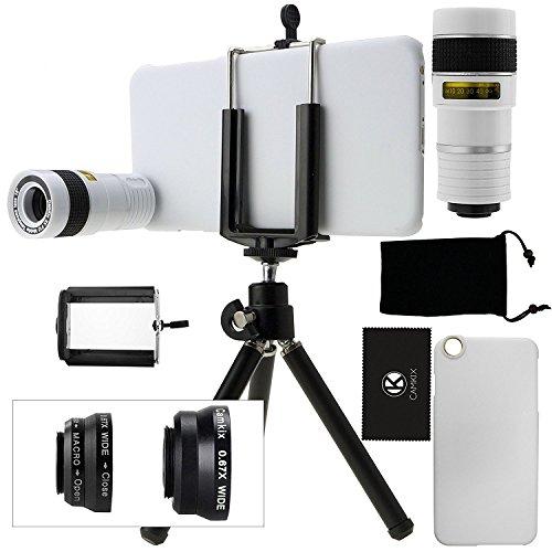 Set di obiettivi per fotocamera iPhone 6 Plus / 6S Plus con un teleobiettivo 8 x / obiettivo Fisheye / obiettivo macro 2 in 1 e grandangolo / mini treppiede / supporto universale / custodia rigida per Apple iPhone 6 Plus / 6S Plus / custodia in velluto / panno in microfibra CamKix - Super accessori e dispositivi di montaggio per il vostro iPhone 6 Plus / 6S Plus.