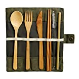 nuoshen Bamboo Cutlery Set, Bamboo Travel Utensils Include Knife Fork Spoon Chopsticks Straws