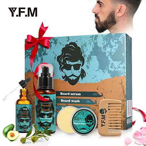 Beard Grooming Kit Luckyfine Moustache Care Gift Set for Thanksgiving, Christmas, for Father and Boyfriend - Includes:Beard Shampoo, Beard Serum, Beard Balm Leave-in Conditioner and Beard Comb