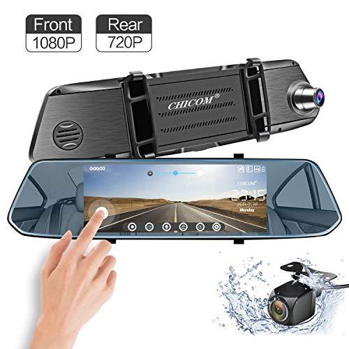 CARMATE Cámara del tablero de espejos y pantalla táctil con vista trasera ajustable, grabadora de video para automóvil con doble lente HD con sensor para asistencia de estacionamiento