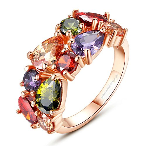 Yellow Chimes Flowerets Vine Swiss Cubic Zirconia 18K Rose Gold Plated Sparkling Ring for Women and Girls