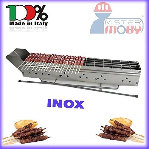 Mistermoby Fornacella Cuoci Spiedini Arrosticini Carne Pesce 110Cm Inox