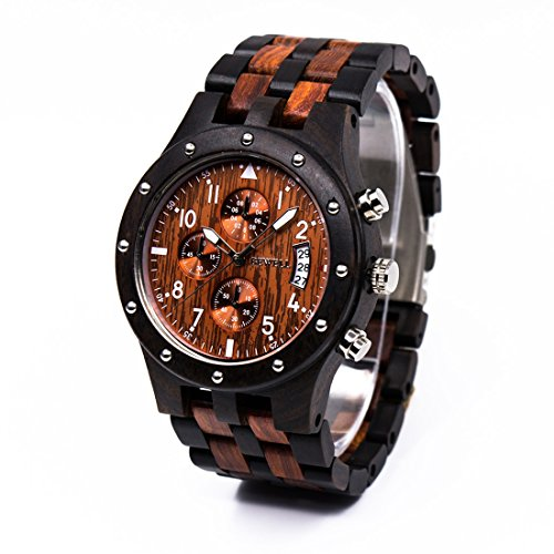 Orologio in legno collezione naturale Sandalo legno orologio con scatola regalo, orologio data...