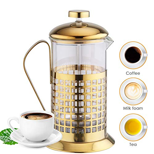 Upscale Premium Tea and Coffee Maker 600 ml French Press Brewer,4 Part Superior Filtration, with Stainless Steel case and Handle and Borosilicate Glass Body : Perfect for Tea, Coffee, Expresso - Gold