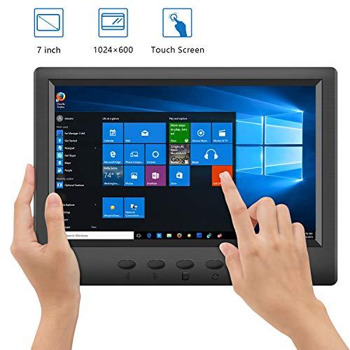 CHORTAU Monitor Gaming PC 7 Pollici Touch Screnn Display LCD FHD 1024x600 Pixel 16: 9, monitor da gioco Ultra-sottile da 3,8 mm Leggero con altoparlante incorporato, VGA/HDMI/VA/BNC/Ingresso
