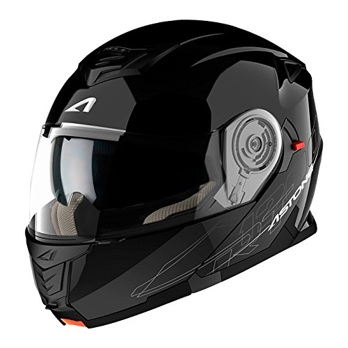 Astone Helmets - RT1200 Monocolor- Casque de moto modulable - Casque de moto polyvalent - Casque de moto homologué - Coque en polycarbonate - gloss black