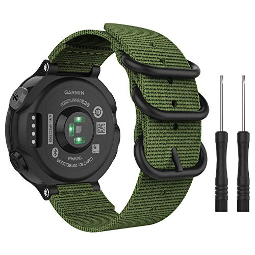 MoKo Garmin Forerunner 235 Cinturino, Morbido Braccialetto Regolabile in Nylon + Connettore Metallico con Fibbia Classica per Garmin Forerunner 235/220 / 230/620 / 630 / 735XT Smart Watch - Army Green