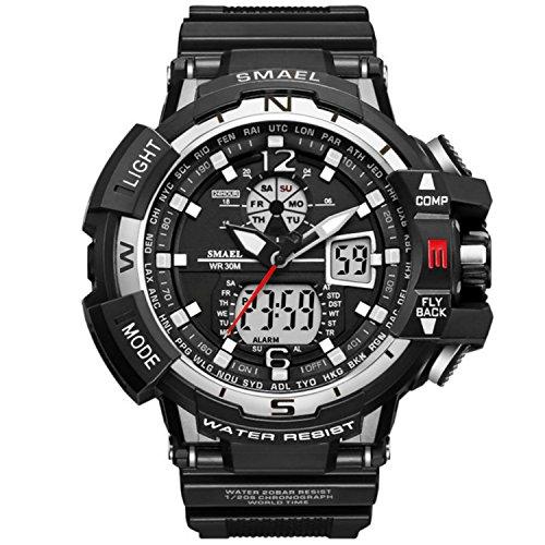 Orologio digitale e analogico da uomo, quadrante doppio multifunzione, cinturino resistente, stile...