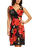 Ladies Floral Vines Print Summer Beach Casual Holiday Short Day Dress Black with Red Flowers UK 16 18