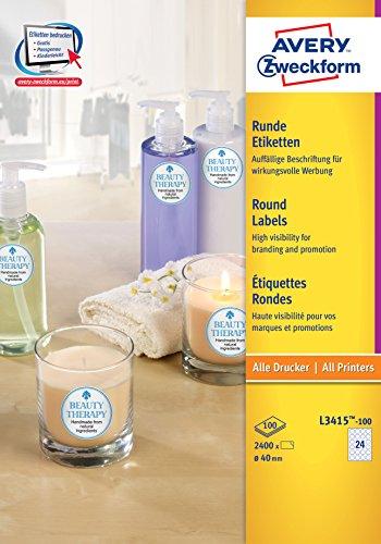 AVERY Zweckform L3415-100 runde Etiketten (zum Bedrucken, selbstklebend, Ø 40 mm, A4, 2.400 Aufkleber auf 100 Blatt, Klebepunkte zum Kennzeichnen von Unterlagen, Produkten) weiß