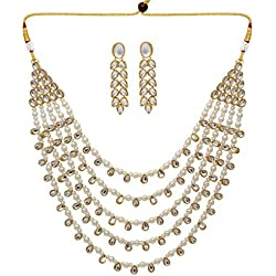 Jaipur Mart Alloy Metal Gold Plated Kundan Necklace Set for Women/Girls (KN201WHT)
