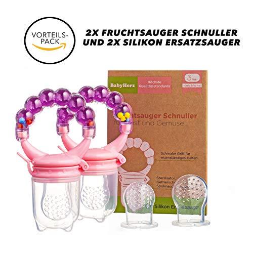 Fruchtsauger Schnuller für Obst und Gemüse - Bereits ab 3 bis 6 Monate geeignet und zu 100{8a3c6b0cbbeac32443918159c24067871c3a03cae77889901f67fa56013efaf8} bpa-frei für Babys (Rosa)