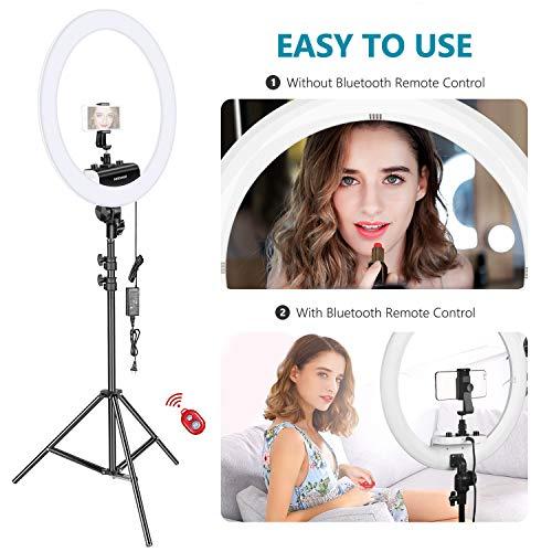 Neewer Ring Light Kit [1,8cm Ultra Fin] Anneau Lumineux 48 cm, 3200-5600K, Lumière Anneau à Intensité Réglable avec Pied, Porte-Smartphone, ... 28