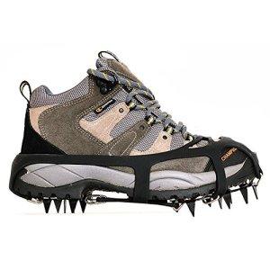 Kottle Crampones universales 18 dientes acero hielo Grips antideslizante nieve y hielo tracción tacos zapato cadenas seguro protegen zapatos 11