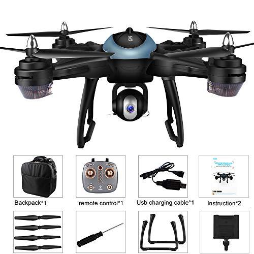 Bescita LH-X38G - Drone quadricottero Doppio GPS FPV con Fotocamera HD 1080 P con Batteria Lipo 7,4 V 2500 mAh, Pieghevole, RC Quadcopter Drone con Zaino (Blu)