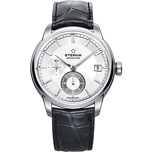 Eterna Adventic Automatik Uhr, Eterna 3914A, Crocodileband, Silber