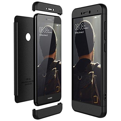 CE-Link Funda Huawei P8 Lite 2017, Carcasa Fundas para Huawei P8 Lite 2017, 3 en 1 Desmontable Ultra-Delgado Anti-Arañazos Case Protectora - Negro